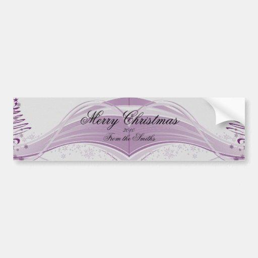 Sugar Plum Tree and Snowflakes in Purple Bumper Stickers