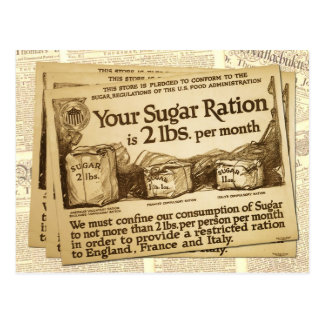 Sugar Ration, WWI Poster Postcard