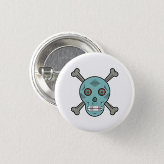 Sugar skull and bones 3 cm round badge
