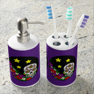 Sugar Skull And Flowers Bath Set