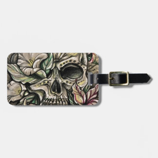 Sugar skull and lilies luggage tag