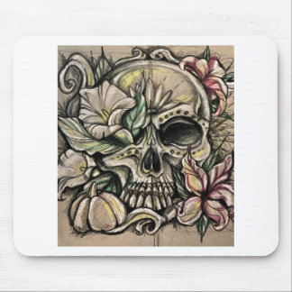 Sugar skull and lilies mouse pad