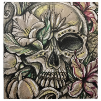 Sugar skull and lilies napkin