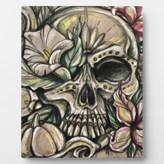 Sugar skull and lilies plaque