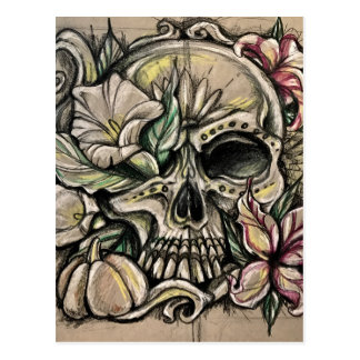 Sugar skull and lilies postcard