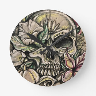 Sugar skull and lilies round clock