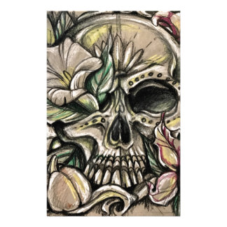 Sugar skull and lilies stationery