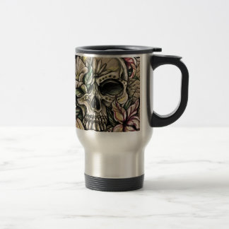 Sugar skull and lilies travel mug