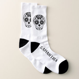 Sugar skull and your name large socks