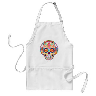 Sugar Skull Apron - Sugar Skull Wearing Headphones