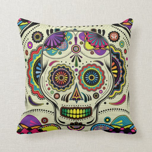 Sugar Skull Art Day of the Dead pillow