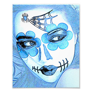 Sugar Skull Art Print: A Study in Blue Art Photo