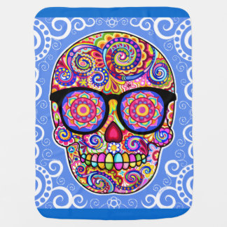 Sugar Skull Baby Blanket - Colorful Hipster Art