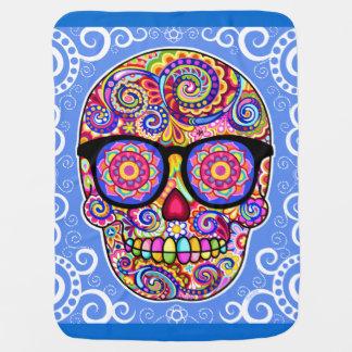 Sugar Skull Baby Blanket - Colourful Hipster Art