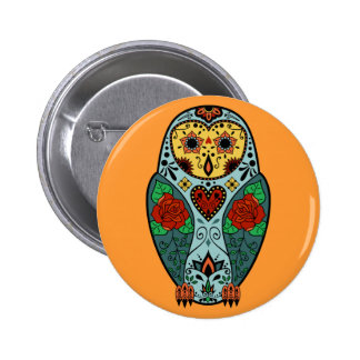 Sugar Skull Barn Owl 6 Cm Round Badge