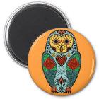 Sugar Skull Barn Owl Magnet