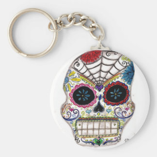 sugar skull basic round button key ring