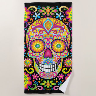Sugar Skull Beach Towel / Day of the Dead Towel