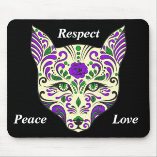 Sugar Skull Beige and Purple Wolf Head Mouse Pad