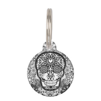 Sugar Skull Black and White Pet Tag