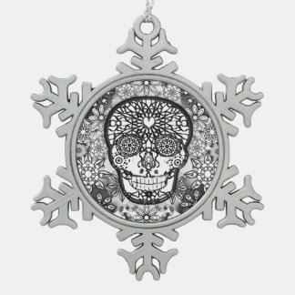 Sugar Skull Black and White Pewter Snowflake Decoration