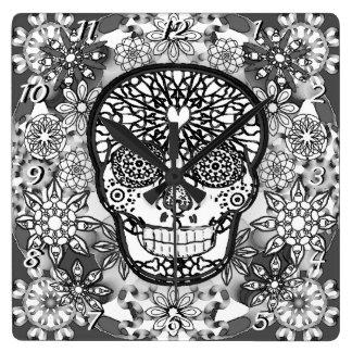 Sugar Skull Black and White Wallclock