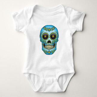Sugar Skull - Blue Floral Baby Bodysuit