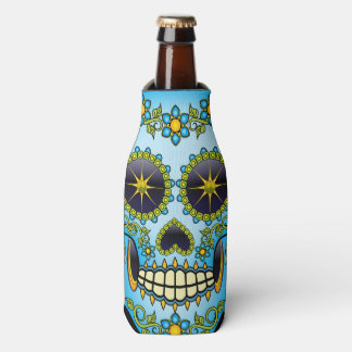 Sugar Skull Blue Floral Bottle Cooler
