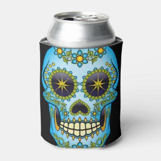 Sugar Skull Blue Floral Can Cooler