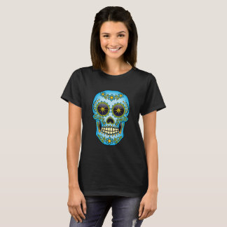 Sugar Skull Blue Floral T-Shirt