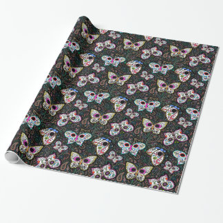 Sugar skull butterflies gift wrap wrapping paper