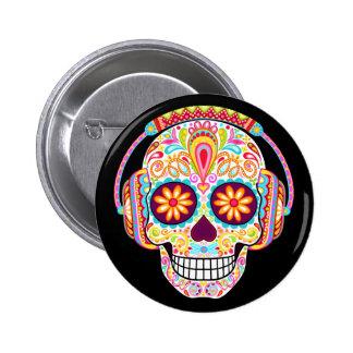Sugar Skull Button - Day of the Dead Skull Pin