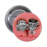Sugar Skull Buttons - Customise with your names!