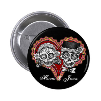 Sugar Skull Buttons - Customize with your names!