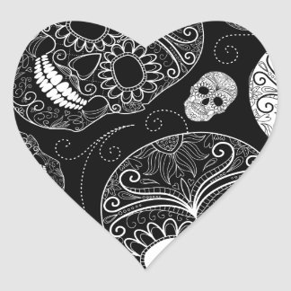 Sugar Skull BW Heart Sticker