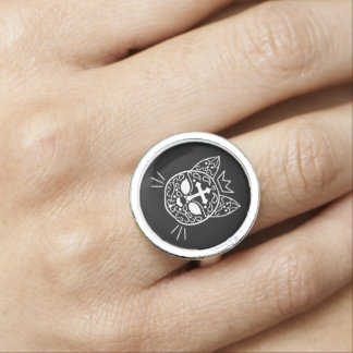Sugar skull cat ring