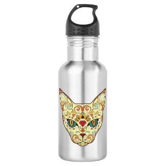 Sugar Skull Cat - Tattoo Design 532 Ml Water Bottle