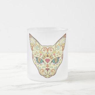 Sugar Skull Cat - Tattoo Design Frosted Glass Coffee Mug