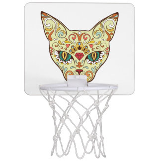 Sugar Skull Cat - Tattoo Design Mini Basketball Hoop