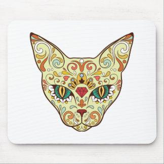 Sugar Skull Cat - Tattoo Design Mouse Pad