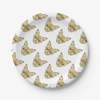 Sugar Skull Cat - Tattoo Design Paper Plate