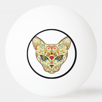 Sugar Skull Cat - Tattoo Design Ping Pong Ball