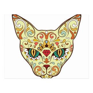 Sugar Skull Cat - Tattoo Design Postcard