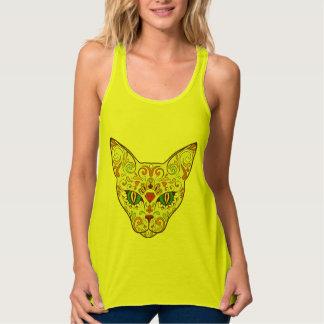 Sugar Skull Cat - Tattoo Design Singlet