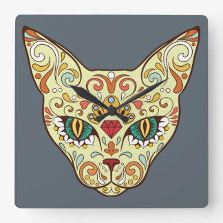 Sugar Skull Cat - Tattoo Design Square Wall Clock