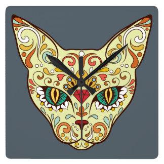 Sugar Skull Cat - Tattoo Design Wall Clocks
