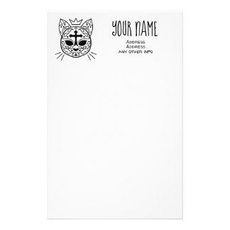 Sugar skull cat with your name Gothic style Stationery
