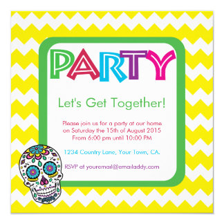 Sugar Skull Color Party Invitation