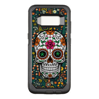 Sugar Skull & Colorful Flowers Illustration OtterBox Commuter Samsung Galaxy S8 Case