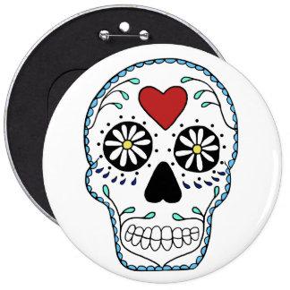 Sugar Skull Colossal, 6 Inch Round Button